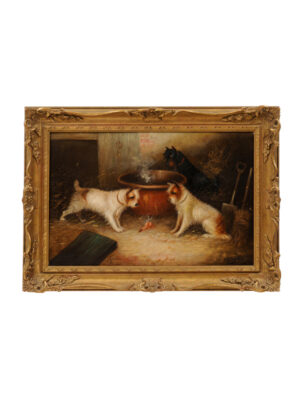 Giltwood Framed Oil on Canvas Dog Painting