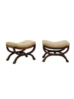 Pair 19th Century French X-Leg Benches