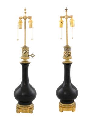 Pair Black Porcelain & Bronze Mounted Lamps