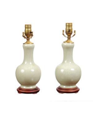 Pair Celadon Porcelain Lamps