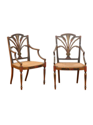 Pair English Adam Style Painted Armchairs