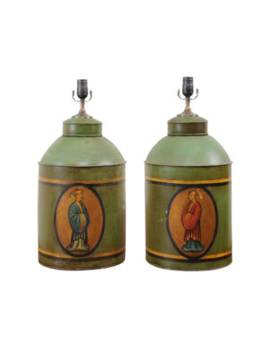 Pair Green Tole Tea Cannister Lamps
