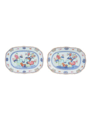 Pair Tobacco Leaf Platters