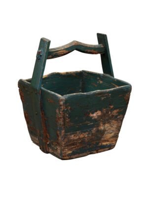Rustic Green Painted Wooden Bucket