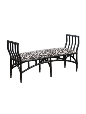 20th C. Black Painted Bamboo Style Bench