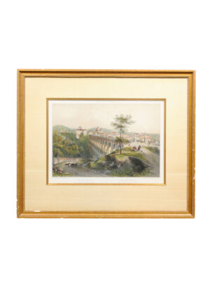 Framed 18th C Landscape Engraving of Rome