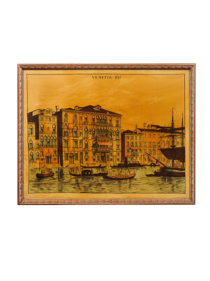 Framed Venice Canal Painting