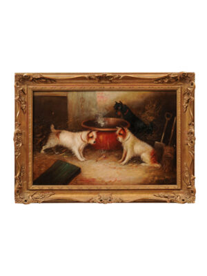 George Armfield Style Dog Painting in Giltwood Frame