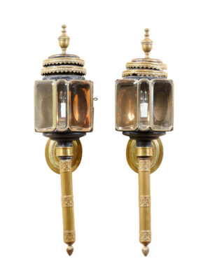 Pair 19th Century Brass Coach Lanterns