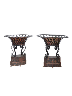 Pair 19th Century French Tole & Iron Planters