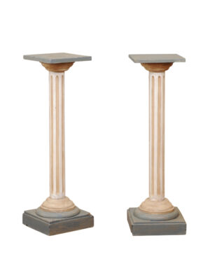 Pair 19th Century Louis XVI Style Painted Pedestals