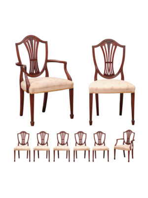 Set of 8 Sheraton Style Dining Chairs
