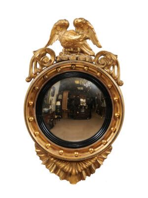 19th Century English Bullseye Mirror with Eagle Crest