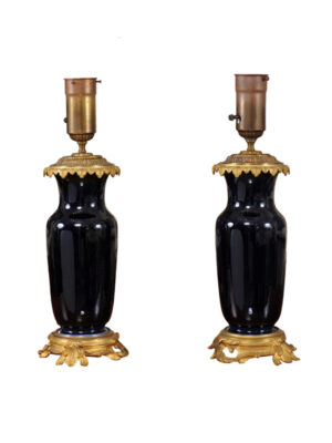 19th Century French Gilt Bronze Mounted Lamps