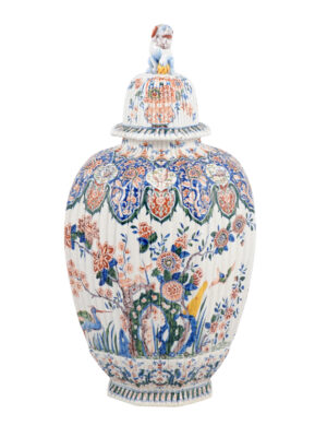 19th Century Polychrome Delft Urn
