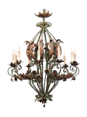 20th Century French Iron & Tole Chandelier