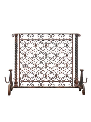 20th Century French Wrought Iron Fire Screen