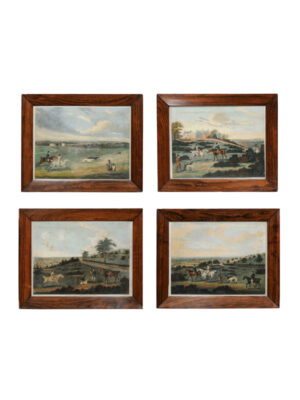 4 Framed Hunt Scene Engravings
