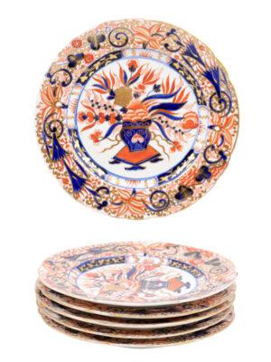 6 English Imari Plates