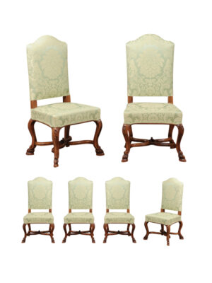 6 Louis XV Style Upholstered Dining Chairs