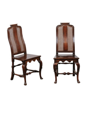 Pair 18th Century Queen Anne Walnut Hall Chairs