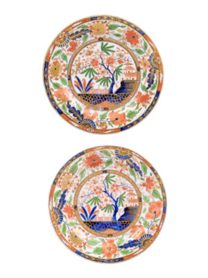 Pair 19th C English Porcelain Plates