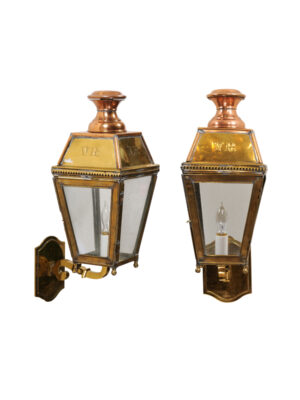 Pair 19th Century English Brass & Copper Lanterns