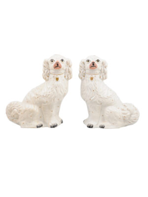 Pair 19th Century English Staffordshire Dogs