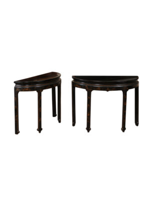 Pair Asian Style Black Lacquered Consoles