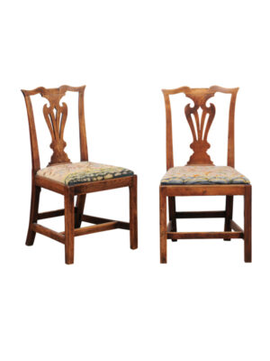 Pair Chippendale Style Elm Side Chairs