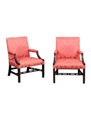 Pair Chippendale Style Mahogany Library Chairs