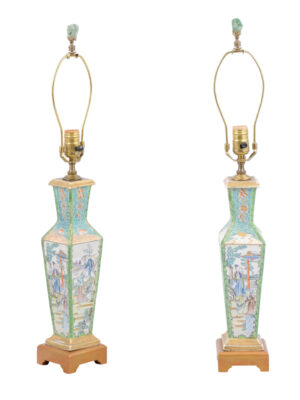 Pair Famille Rose Porcelain Lamps