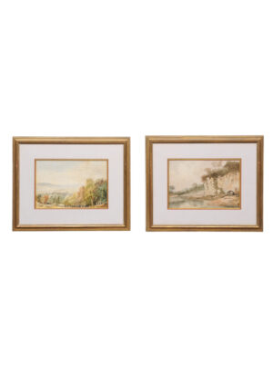 Pair Framed English Watercolor Landscapes