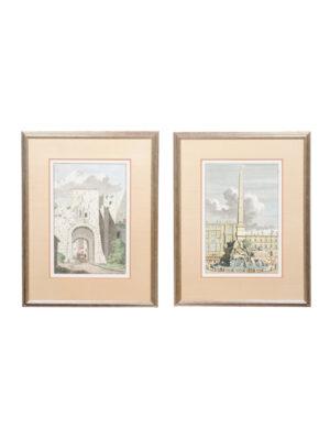 Pair Framed Italian Landscape Engravings