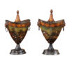 Pair Regency Style Tole Chestnut Urns