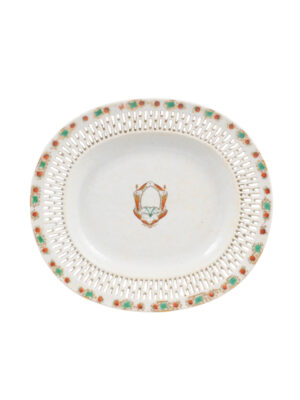 Petite Armorial Reticulated Platter, 19th C Chinese Export