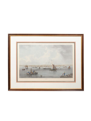 Framed Chromolithograph of Boston Harbor