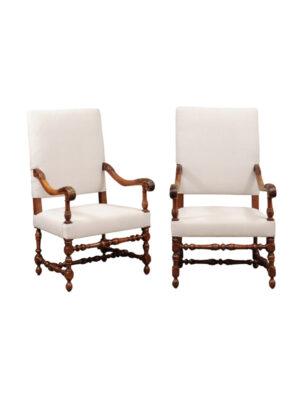 Louis XIII Style Walnut Armchairs