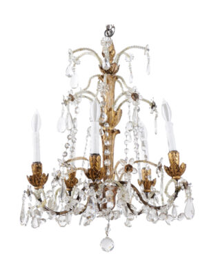 Neoclassical Style Giltwood & Crystal Chandelier