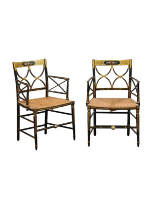 Pair English Regency Black Painted & Rush Armchairs