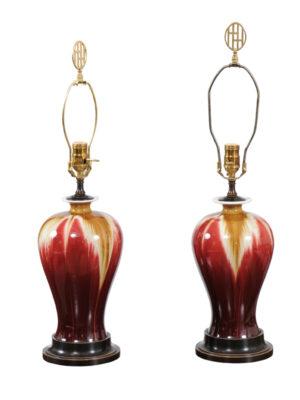 Pair Red & Tan Porcelain Lamps