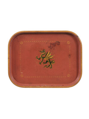 Vintage Red Painted Tole Tray