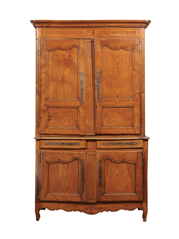 19th Century French Elm Buffet Deux Corps