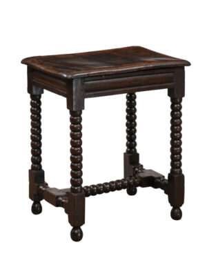 18th C English Oak Bobbin Turned Stool