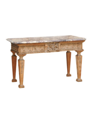 18th Century English Pine Console with Marble Top