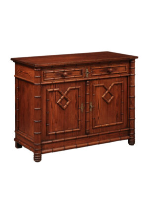 19th C English Bamboo Style Pine Cabinet