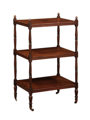 19th C English Mahogany 3-Tier Trolley