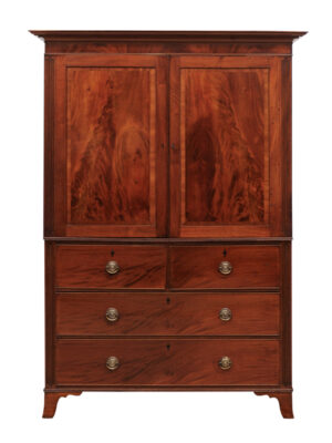 19th C English Mahogany Linen Press