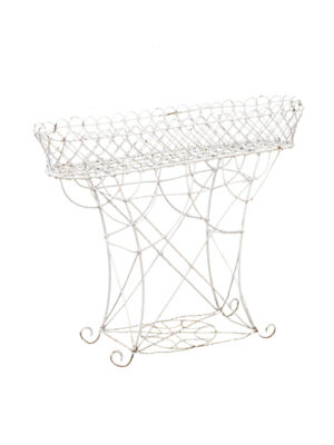 19th C French White Painted Wire Planter