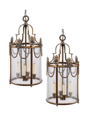 Pair Directoire Style Brass Lanterns